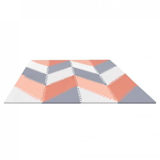 بساط الألعاب الإسفنجي جيو من سكيب هوب على شكل البلاط باللون الأبيض والاحمر، بتصميم متعرج