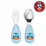 مجموعة أدوات المائدة والشوكة والمعلقة للأطفال الصغار من سكيب هوب, بومة