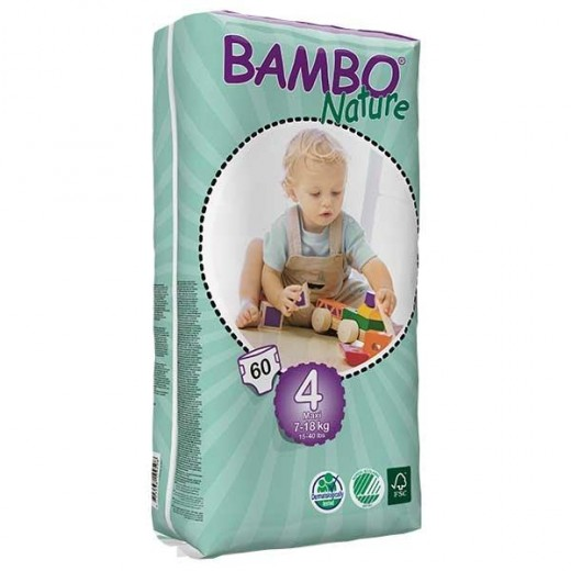 Bambo Nature Baby Diapers Classic, Size 4 (7-18Kg), 60 Count