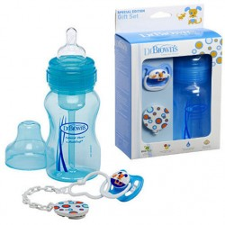 Dr. Brown's Gift Set (Wide Neck Bottle /Pacifier /Clip) - Blue