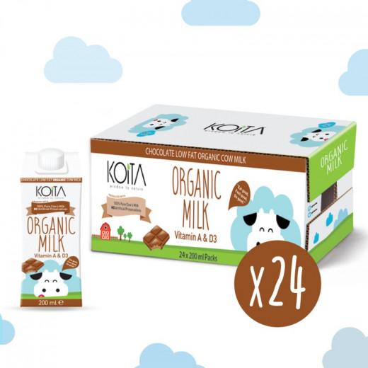 حليب عضوي قليل الدسم بنكهة الشوكولاطة من كويتا, 200 مل, 24 علبة