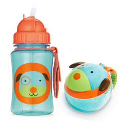 Skip Hop Zoo Straw Bottle & Snack Cup-Dog
