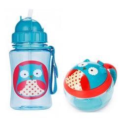Skip Hop Zoo Straw Bottle & Snack Cup-Owl