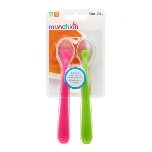Munchkin Gentle Silicone Spoons - 2 Pack (Green/Pink)