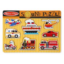 Melissa & Doug Vehicles Sound Puzzle - 8 Pieces