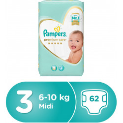 Pampers Premium Care Midi Diapers, Size 3, 1 Value Pack, 6-10 Kg, 62 Count