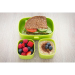صندوق غداء لوك باك للأطفال البالغين ، طبقة واحدة ومقصورتان صغيرتان ، مقاوم للتسرب ، معتمد من إدارة الغذاء والدواء - أخضر