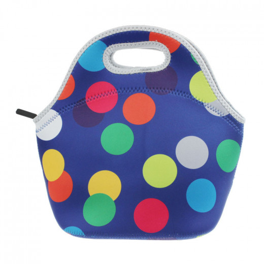 Travel Lunch Bag Tote - Multi Color Big Dots