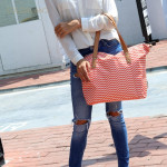 Colorland Avril Multi Functional Mummy Bag Diaper Bag - Orange Chevron