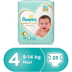 Pampers Premium Care Diapers, Size 4, Maxi, 9-14 kg, Carry Pack, 23 Count