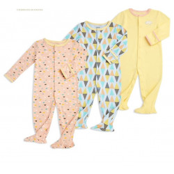 Colorland - Baby Romper 3 Pieces In One Pack 12-18 Months - Yellow with Colored Designed
