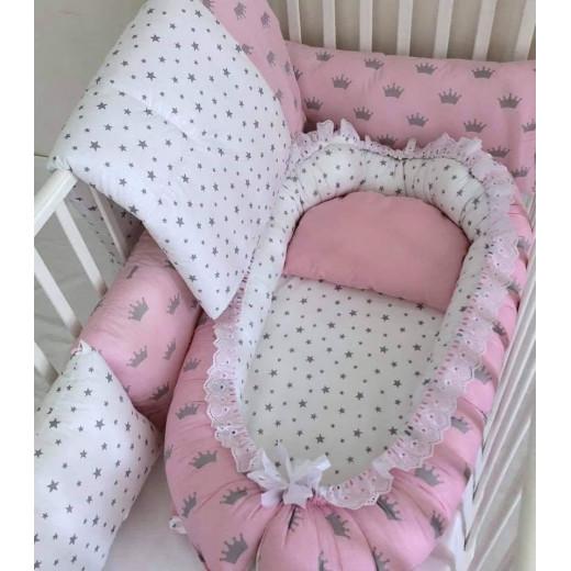 Anett Newborn Baby Bedding Set, Crowns, Pink & Grey