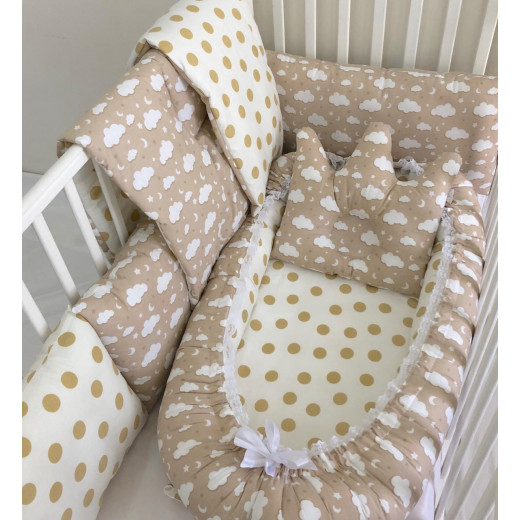 Anett Newborn Baby Bedding Set, Clouds with Dots, Cappuccino