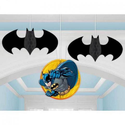 Amscan - Batman DC Honeycomb Danglers Hanging Decorations 3 Count Party
