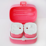 Look Back Lunch Box for Kids Adults, One layer and Two Small Compartments, Leak Proof, FDA Approved- Pink