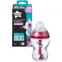 Tommee Tippee Advanced Anti Colic Decorated Bottle with Heat Sensing Tube, 260 ml, Girl