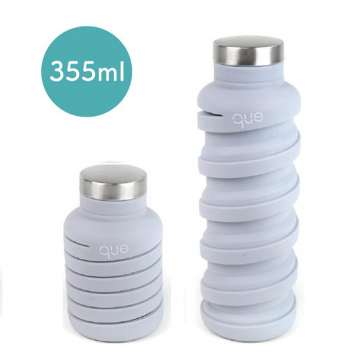 Que Collapsible Water Bottle, Cloudy Grey, 355 ml