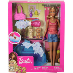 Barbie Doll Blonde and Playset with 3 Puppies, Bathtub and Accessories