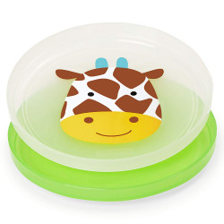 Skip Hop Baby Plate Non-Slip Smart Serve 2 Piece Rubber Grip, Giraffe