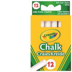 12 طباشير كرايولا أبيض مضاد للأتربة