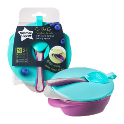 Tommee Tippee Easy Scoop Feeding Bowls With Lid and Spoon, Purple & Blue