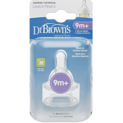 "Dr. Brown's Level 4 Silicone Standard -Neck ""Options"" Nipple - 2 Pack"