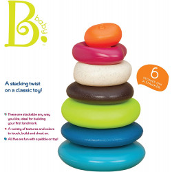 B. Toys – Stacking Rings – Textured Ring Stacker for Babies – Baby Toys 100% Non-Toxic – Early Development Toys