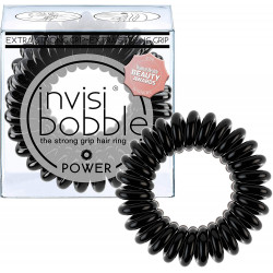 invisibobble POWER True Black, The Spiral Shaped Strong Grip Hair Ring, Black, 3 Hair Ties Per Packaging