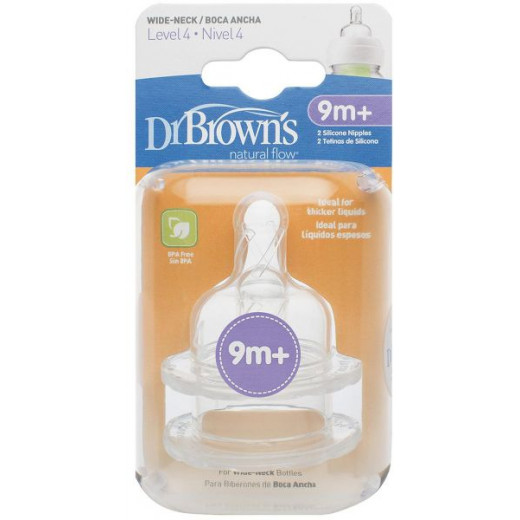 "Dr Brown's Level 4 Silicone Wide-Neck ""Options"" Nipple, 2-Pack"