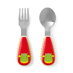 Skip Hop Toddler Utensils, Fork and Spoon Set, Dillon Dragon