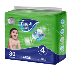 Fine Baby Diapers, Size 4, Large 7-14kg, Economy Pack of 30 diapers