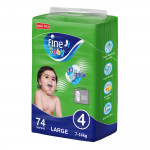 Fine Baby Diapers, Size 4, Large 7-14kg, Mega Pack of 74 diapers