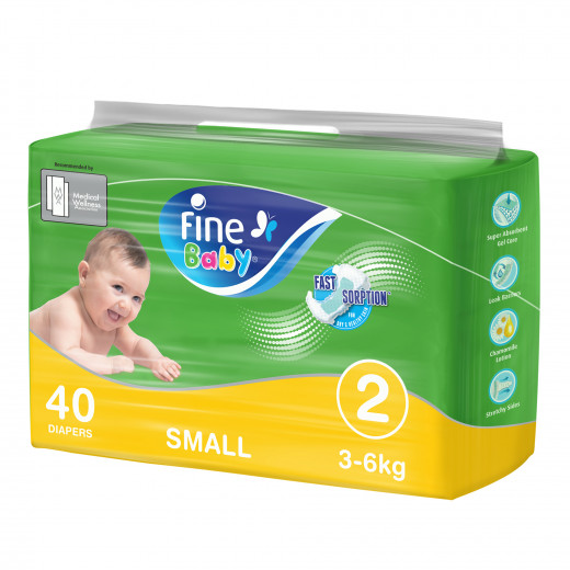 Fine Baby Diapers, Size 2, Small 3–6kg, Economy Pack of 40 diapers
