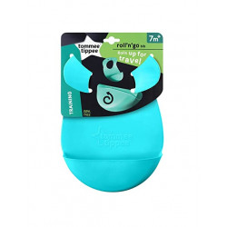 Tommee Tippee Roll 'n' Go Bib Rolls Up for Travel 7m+, Turquoise