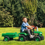 تراكتور للأطفال مع المقطورة من دولو, اللون الأخضر