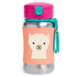 Skip Hop Zoo Stainless Steel Straw Bottle - Llama