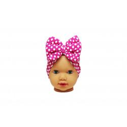 Baby Turban Headband, Fuchsia with White Dots