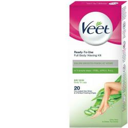 Veet Full Body Waxing Kit Easy Gel Wax Technology Dry Skin 20 Strips