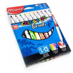 Maped Color'Peps Brush Pens – Felt Tip pens - Wallet of 10 Assorted Colours