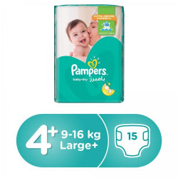 Pampers Baby-Dry Diapers, Size 4+, Maxi+, 10-15kg, 15 Count