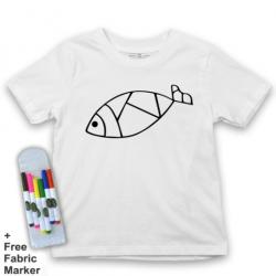 Mlabbas Fish Kids Coloring Tshirt - 3-4 years