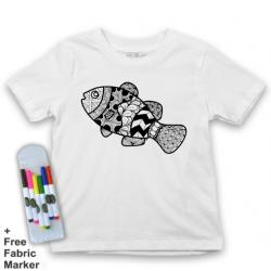 Mlabbas Fish Kids Coloring Tshirt - 2-3 years