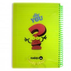 """دفتر ملاحظات مع سلك بتصميم كتابة """"هاي يو"""" اللون الأخضر من أميجو: 70 صفحة,2 أقسام"""