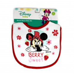 Mickey & Minnie Cotton Baby Bib, Red