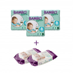 3x Bambo Nature Baby Diapers Classic, Size 5 (12-22Kg), 27 Count + 2x Bambo Nature Wet Wipes 80 count