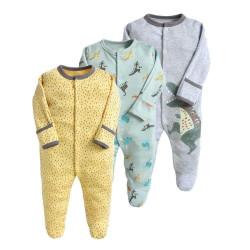قطع ملابس طويلة الأكمام للأطفال  3 قطع في عبوة واحدة  3-6 أشهر من كالور لاند،بتصميم الديناصورات