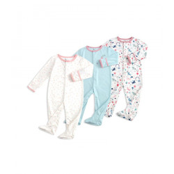 Colorland Long-Sleeve Baby Overall 3 Pieces In One Pack 9-12 Months, Unicorn