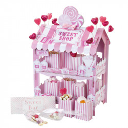 Pink White Sweet Shop 2 Tier Treat Stand, Stickers & Paper Treat Bags X 12 Party