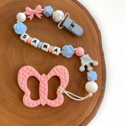 Munch Monsters Personalized Pacifier & Teether Clip, Pink Butterfly