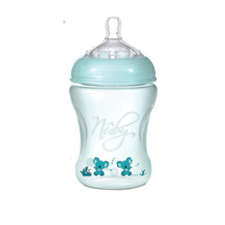 Nuby Natural Touch Wide Neck Bottle 3m+ 240 ml, Green
